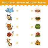 Matching game for children, animals and their homes Royalty Free Stock Photography