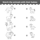 Matching game for children, farm animals and babies