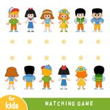 Matching game. Find the front and back of the characters. Matching game for children. Find the front and back of the characters, girls and boys stock illustration