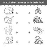 Matching game for children, forest animals and favorite food. Matching game for children, vector education game (forest animals and favorite food stock illustration