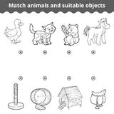 Matching game for children. Match animals and suitable objects. Matching game for children, education game. Match animals and suitable objects Stock Photos