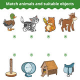 Matching game for children. Match animals and suitable objects Royalty Free Stock Images