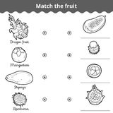 Matching game for children. Match the fruits Royalty Free Stock Photos