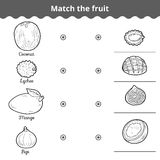 Matching game for children. Match the fruits Royalty Free Stock Photography