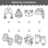 Matching game for children, Match the mitten and hats by ornament Royalty Free Stock Photos