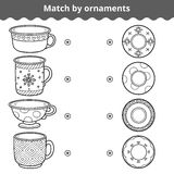 Matching game for children. Match plates and mugs by ornament Royalty Free Stock Photo