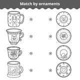 Matching game for children. Match plates and mugs by ornament Stock Image