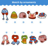 Matching game for children. Match the scarves and hats. Matching game for children, education game. Match the scarves and hats by ornaments vector illustration
