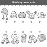 Matching game for children. Match the scarves and hats by ornament. Matching game for children, education game. Match the scarves and hats by ornaments Stock Images