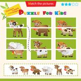 Matching game for children. Puzzle for kids. Match the right parts of the images. Baby animals. Little calf, lamb, fawn, kid