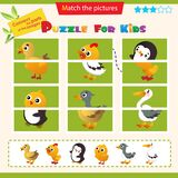 Matching game for children. Puzzle for kids. Match the right parts of the images. Duckling, chick, gosling, turkey, penguin,