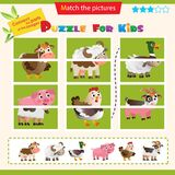 Matching game for children. Puzzle for kids. Match the right parts of the images. Farm animals. Cow, sheep, duck or Drake, pig,