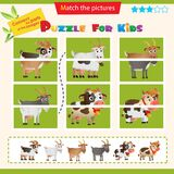 Matching game for children. Puzzle for kids. Match the right parts of the images. Farm animals. Goat cow, sheep