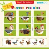 Matching game for children. Puzzle for kids. Match the right parts of the images. Farm animals. Poultry. Turkey, goose, duck,