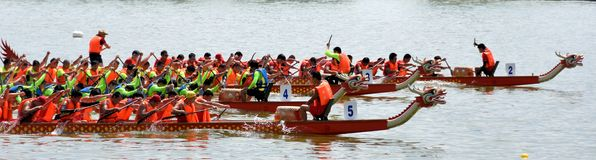 Matching and game of Chinese Dargon boat Royalty Free Stock Photography