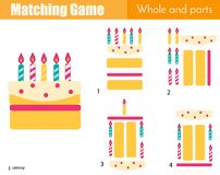 Matching game. Educational children activity with cake. Learning whole and parts type Royalty Free Stock Photo