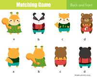 Matching game. Educational children activity with cute animals. Learning back and front vector illustration
