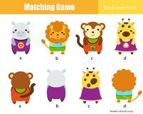 Matching game. Educational children activity with cute animals. Learning back and front Stock Image