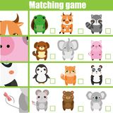 Matching game. Educational children activity with cute animals. Learning whole and parts