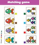 Matching game. Educational children activity with fish. Learning whole and parts type. For pre shool years kids and toddlers Stock Photo