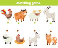 Matching game. Educational children activity. match male and female animals. Activity for pre scholl years kids and toddlers