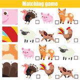Matching game. Educational children activity. Match pattern with farm animal
