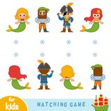 Matching game. Find the front and back of the characters. Matching game for children. Find the front and back of the fairy-tale characters, mermaids and pirates Royalty Free Stock Photos