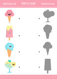 Matching game with ice cream cones for preschool children Stock Images