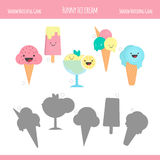 Matching game with ice cream cones for preschool children. Stock Photography