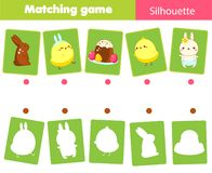 Matching game. Match Easter objects with silhouette. Educational kids activity. Spring theme fun page for toddlers