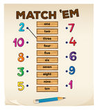 Matching game with numbers. Illustration Stock Photos