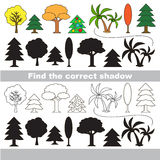 Matching game. Game to compare objects and find the correct shadow, the matching game to educate preschool kids with easy kid educational gaming and primary Royalty Free Stock Photos