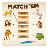 Matching game with wild animals royalty free illustration