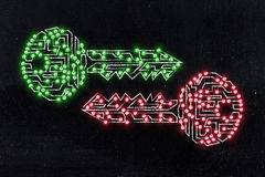 Matching keys made of circuits & led lights, encryption & crypto Royalty Free Stock Photography