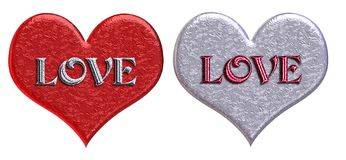 Matching 'LOVE' Hearts Royalty Free Stock Images