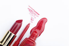 Matching nail polish with lipstick Royalty Free Stock Images
