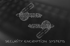 Matching private & public keys made of circuits, encryption conc Stock Photography