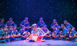 Matchmakers-Turtledove-Chinese folk dance. May 15, 2016, from Jiangxi province around the dancers gathered to exchange skills. At the Nanchang Repertory Theater royalty free stock photo