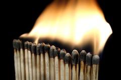 Matchs Burning Fotografia Stock Libera da Diritti