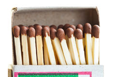 Matchs dans la boîte d'allumettes de carton Image stock