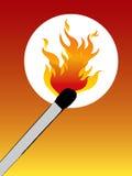 Matchstick e flama Fotografia de Stock Royalty Free