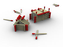 Matchstick Farm. 3d rendered image of a tiny farm made up of matches Stock Photography