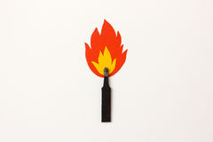 Matchstick on fire Royalty Free Stock Images