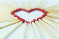 Matchstick heart on white background Royalty Free Stock Image