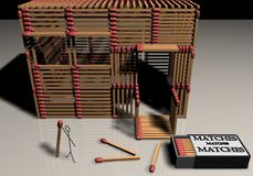 Matchstick House. A small model house made of matchsticks Royalty Free Stock Images