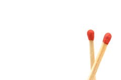 Matchstick isolated on white background. Closeup detail stock photography