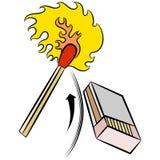 Matchstick-Lichter durch das Schlagen der Streichholzschachtel Stockfotos