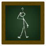 Matchstick man with a question. Doodle of a matchstick man with a question mark above his head Stock Photography