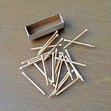 Matchstick och tändsticksask Royaltyfri Fotografi