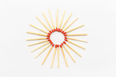 Matchstick. In star form on a white background stock photography